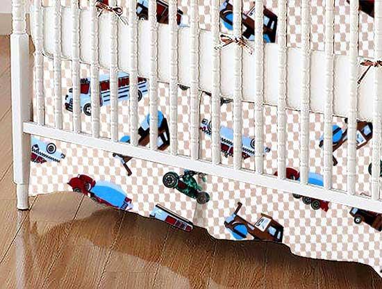Crib Skirt - Vehicles Cream