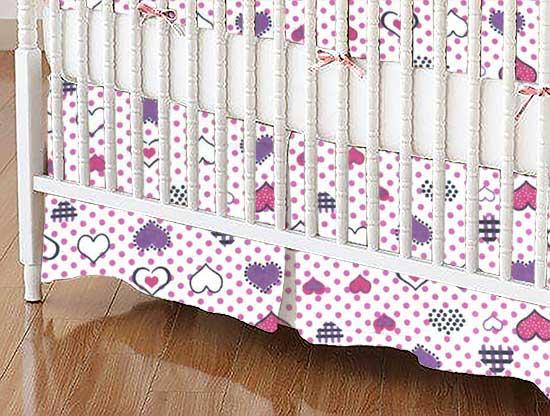 Crib Skirt - Love Hearts