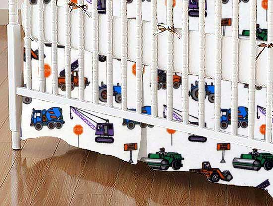 Crib Skirt - Construction Trucks
