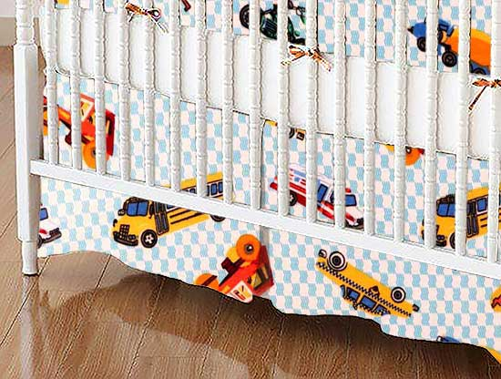 Crib Skirt - Vehicles Blue