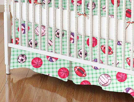 Crib Skirt - Sports Green Grid