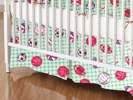 Crib Skirt - Sports Green Grid