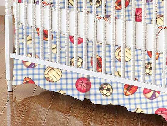 Crib Skirt - Sports Blue Grid