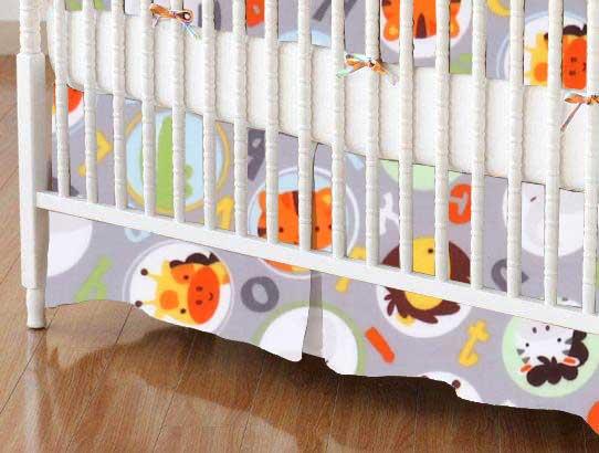 Crib Skirt - ABC Animals Gray