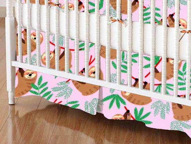 Crib Skirt - Sloths Pink