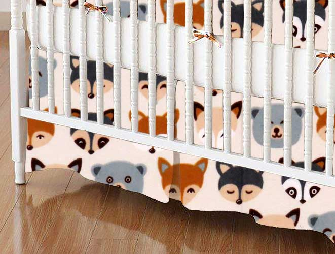 Crib Skirt - Woodland Animals
