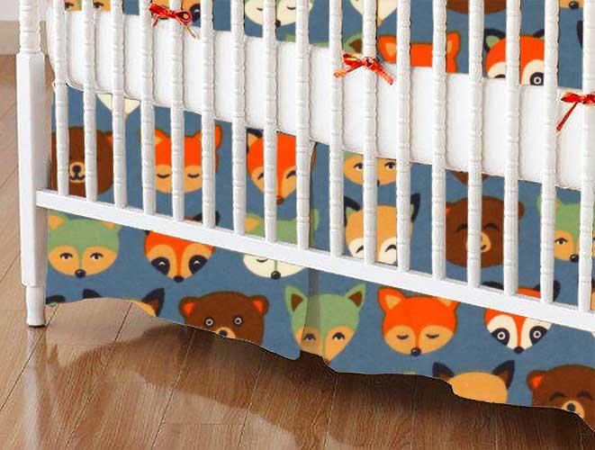 Crib Skirt - Woodland Animals Blue