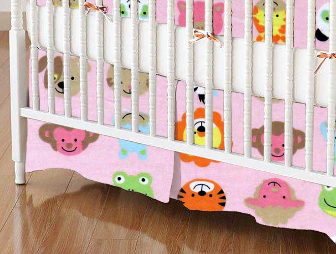Crib Skirt - Animal Faces Pink