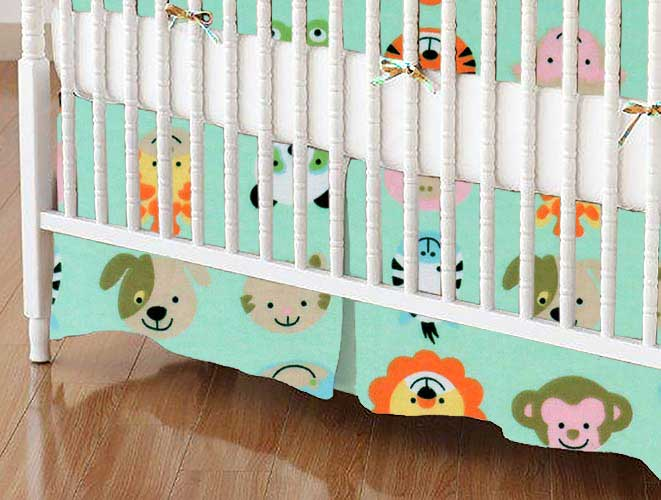 Crib Skirt - Animal Faces Aqua