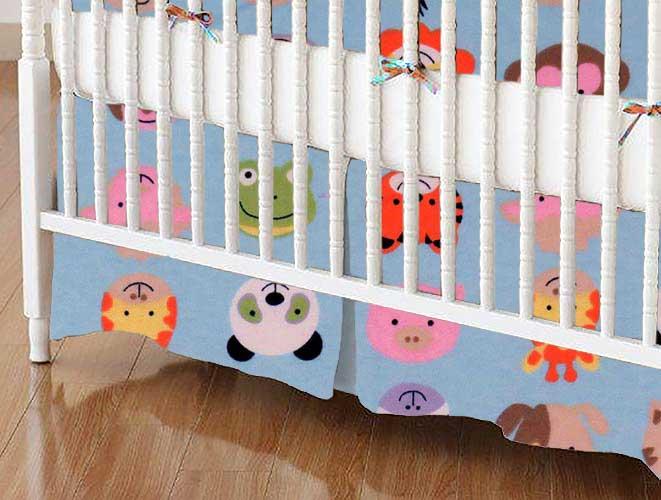 Crib Skirt - Animal Faces Blue