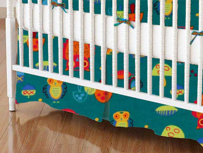 Crib Skirt - Owls Green