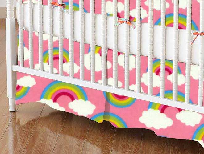 Crib Skirt - Rainbows Pink