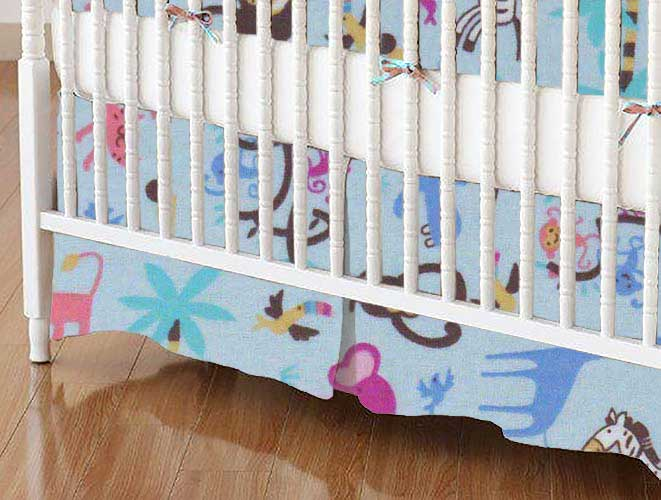 Crib Skirt - Jungle Animals Blue