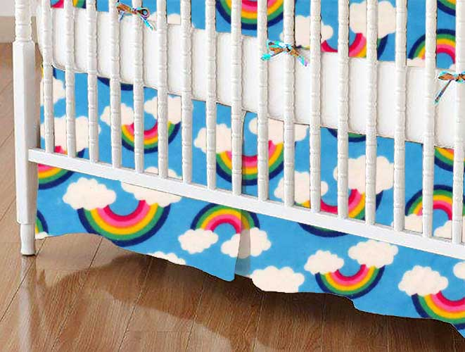 Crib Skirt - Rainbows Blue