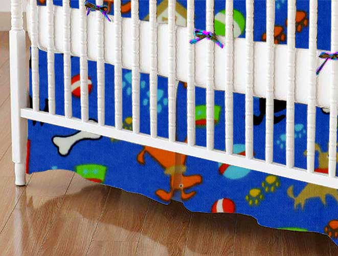 Crib Skirt - Doggy Play Blue