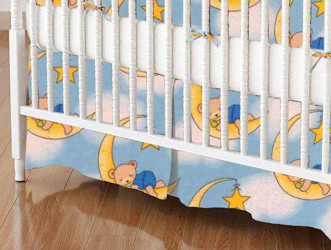 Crib Skirt - Sleepy Bears Blue