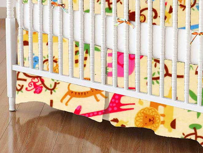 Crib Skirt - Jungle Animals Yellow