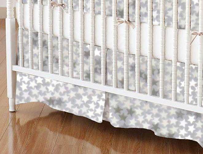 Crib Skirt - Gray Stars