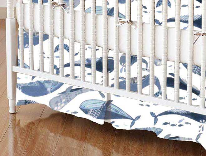 Crib Skirt - Blue Whales