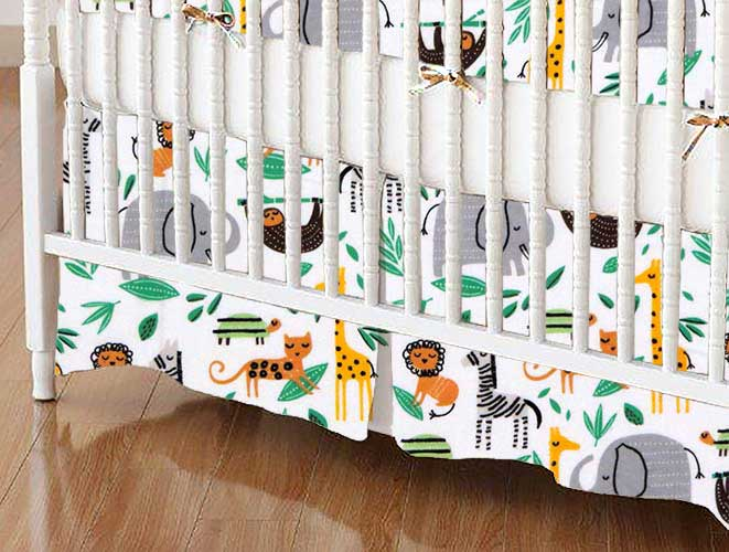 Crib Skirt - Modern Jungle Animals