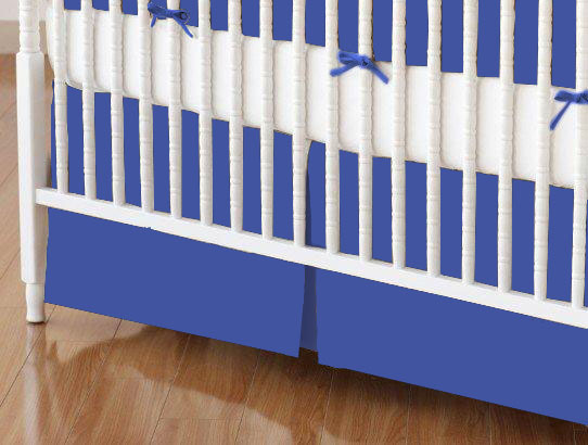 Crib Skirt - Flannel - Royal Blue