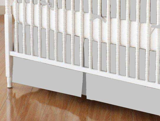 Crib Skirt - Flannel - Silver Grey