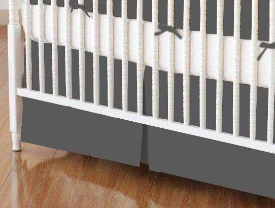 Crib Skirt - Flannel - Dark Grey