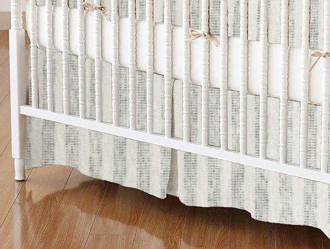 Crib Skirt - Grey Pinstripe Jersey Knit