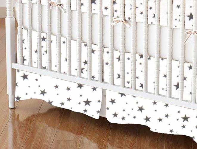 Crib Skirt - Gray Stars Jersey Knit