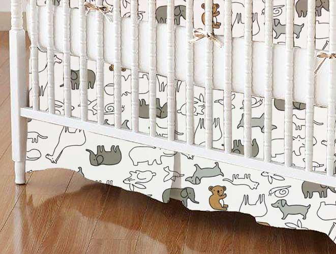 Crib Skirt - Baby Animals