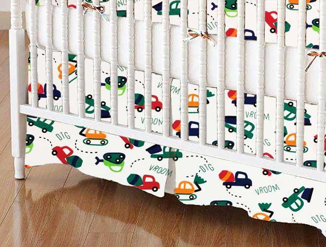 Crib Skirt - Construction Cars