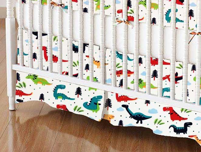 Crib Skirt - Dinosaurs