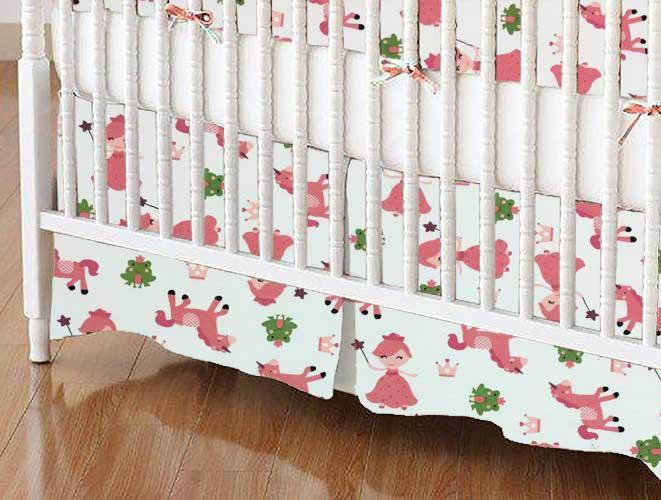 Crib Skirt - Princess & Unicorns