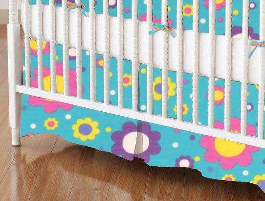 Crib Skirt - Floral Aqua Jersey Knit