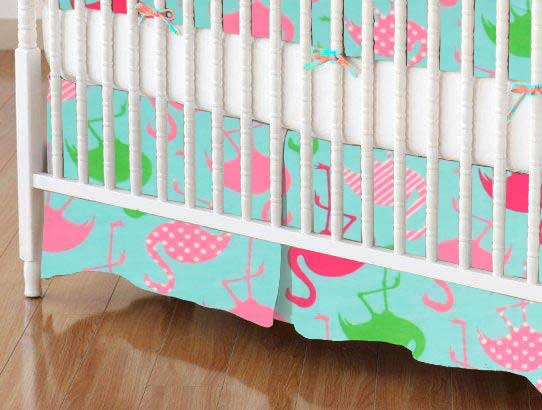 Crib Skirt - Flamingos Aqua Jersey Knit