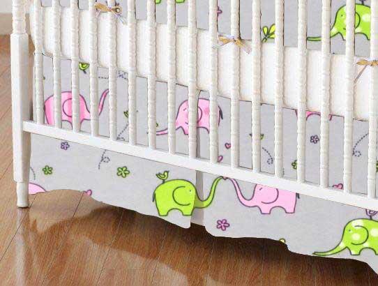 Crib Skirt - Elephants Jersey Knit