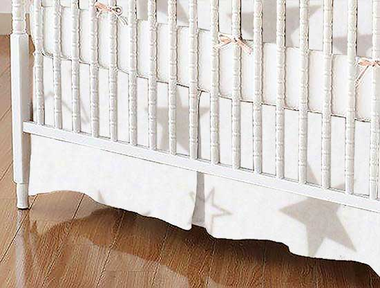 Mini Crib Skirt - Grey Stars Jersey Knit