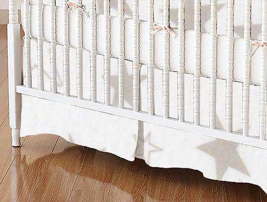Crib Skirt - Grey Stars Jersey Knit