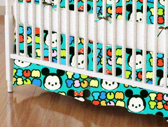 Crib Skirt - Tsum Tsum Aqua