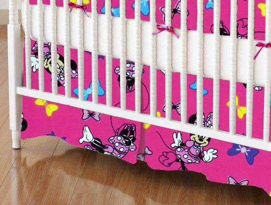 Crib Skirt - Minnie Mouse Bows