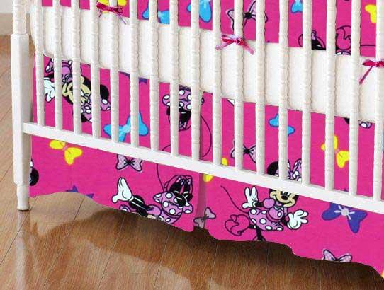 Crib Skirt - Minnie Mouse Bows