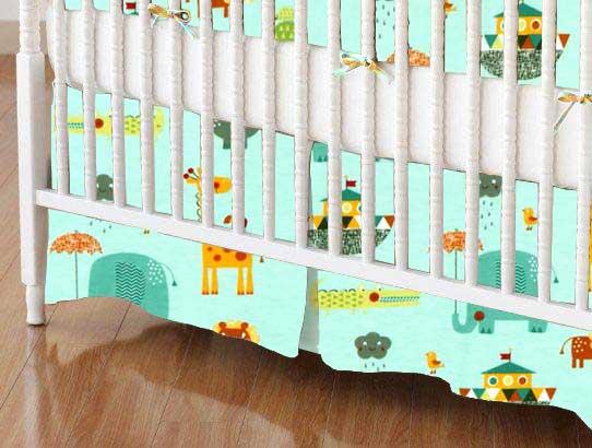 Crib Skirt - Animals Aqua