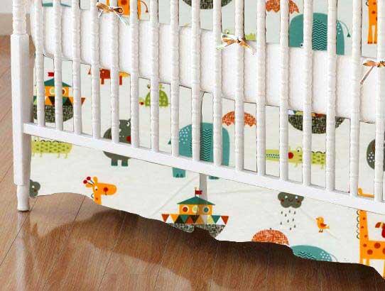 Crib Skirt - Animals Cream