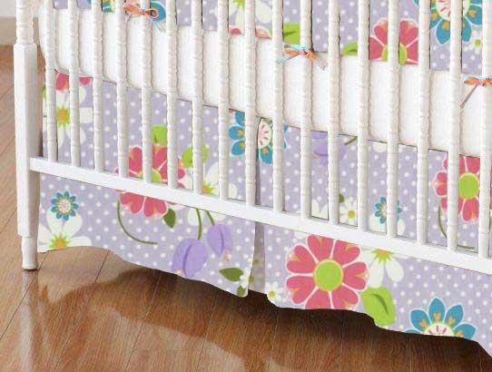 Crib Skirt - Floral Lavender Dot