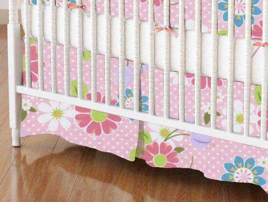 Crib Skirt - Floral Pink Dot