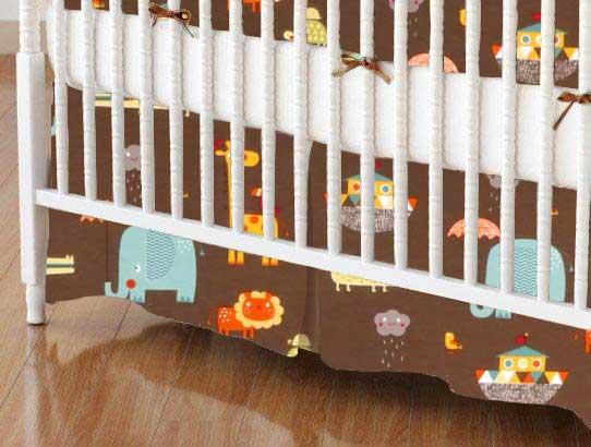 Crib Skirt - Noahs Ark Brown