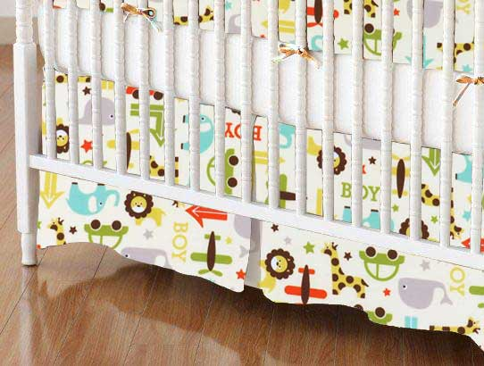 Crib Skirt - Cars & Animals Cream