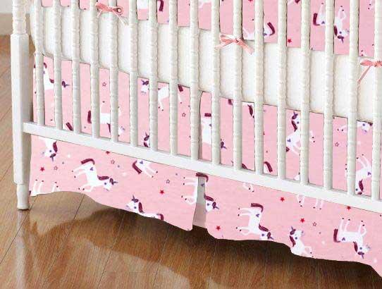 Crib Skirt - Unicorns Pink