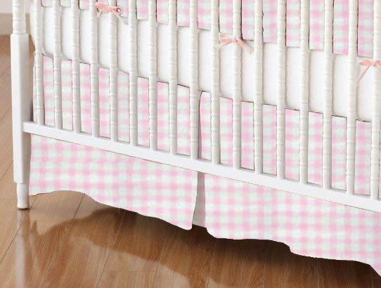 Crib Skirt - Organic Pink Gingham Jersey Knit