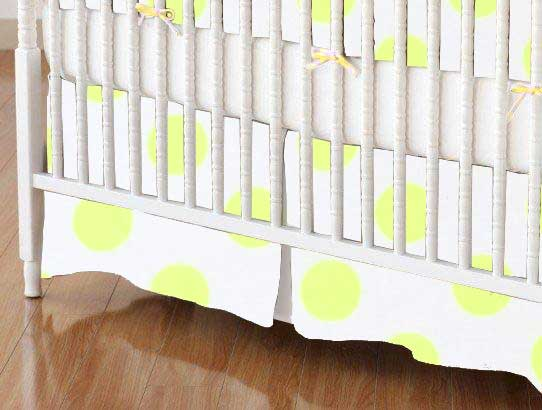 Crib Skirt - Neon Yellow Polka Dots